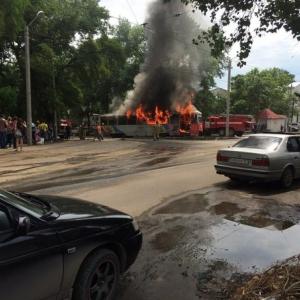 В Новочеркасске сгорел трамвай
