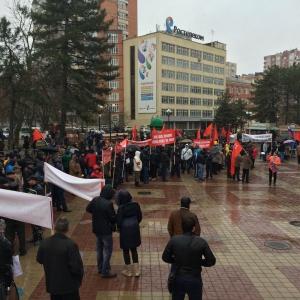 В Ростове-на-Дону дальнобойщики вышли на митинг протеста
